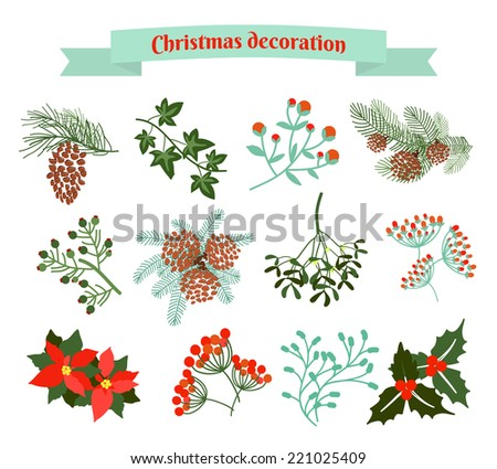Christmas decoration .  set of elements. EPS 10 illustration - stock vector