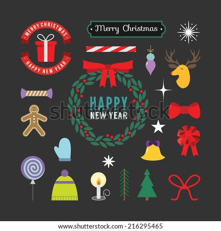 Christmas decoration set of graphic elements, illustrations, labels, symbols, icons, objects and holidays wishes - stock vector