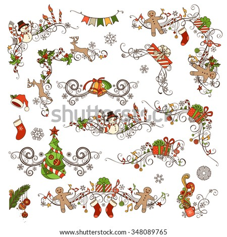 Christmas decoration set. Vector calligraphic design elements for your holiday layout. Christmas tree, gifts, snowmen, gingerbread men, Santa socks and hats, holly berries and music notes.  - stock vector