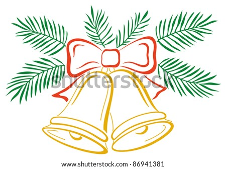 Christmas decoration, symbolical pictogram: golden bells with red bow and green fir branches. Vector - stock vector