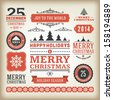 Christmas decoration vector design elements collection. Typographic elements, vintage labels, frames, ribbons, set. Flourishes calligraphic.  - stock photo