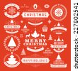 Christmas Decoration Vector Design Elements. Merry Christmas and happy holidays wishes.Typographic elements, vintage labels, frames, ornaments and ribbons, set. Flourishes calligraphic.  - stock