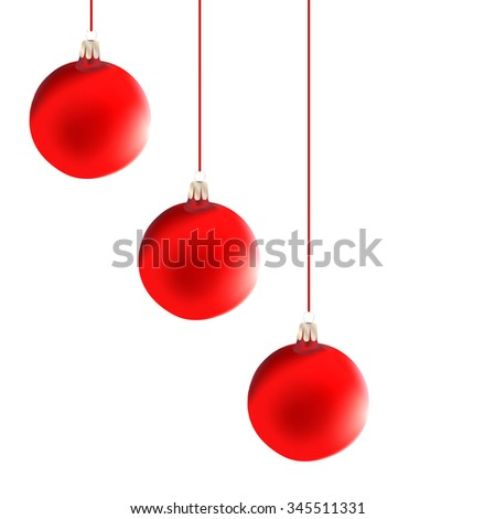 Christmas  decoration : vector red balls - stock vector
