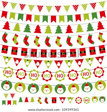 Christmas decoration vector set. Used pattern brushes included. - stock vector