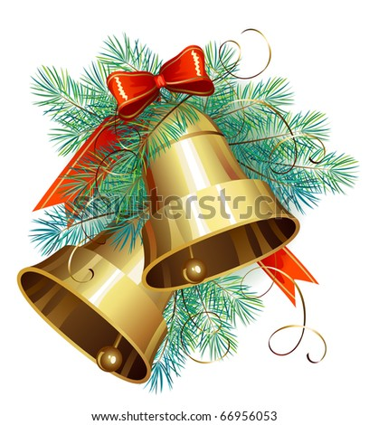 Christmas decoration  with evergreen trees and bells - stock vector