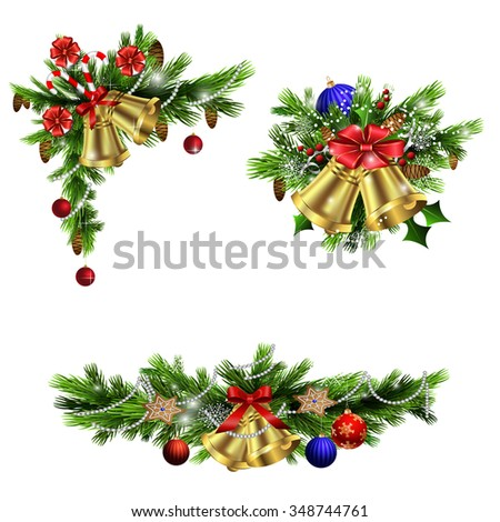 Christmas decoration  with evergreen trees bells   and  with balls - stock vector