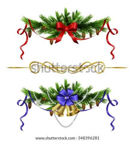Christmas decoration  with evergreen trees bells   and  with balls isolated - stock vector