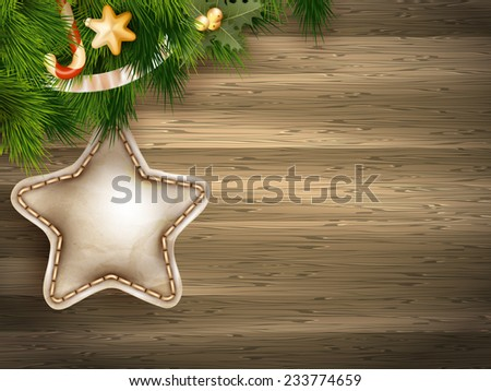 Christmas decoration with fir branches on white wood board. EPS 10 vector file included - stock vector