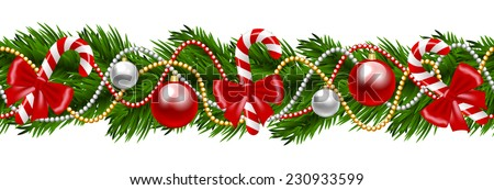 Christmas decoration with fir-tree garland isolated on white - stock vector