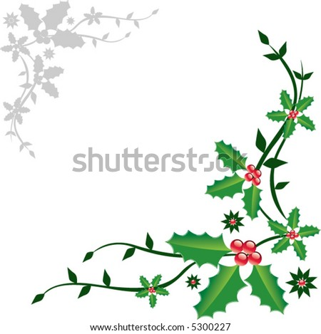 Christmas decoration with holly and floral background - stock vector