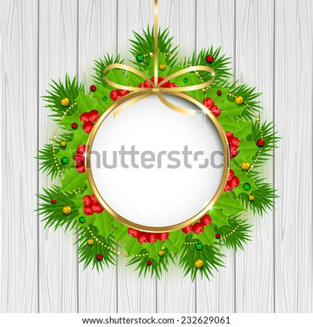 Christmas decoration with holly berry, beads and fir tree branches on wooden background, illustration. - stock vector