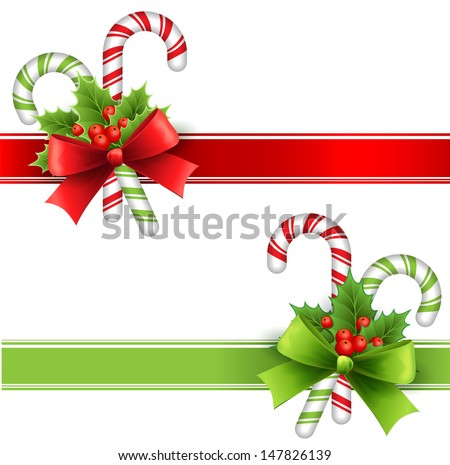 Christmas decoration with holly leaves, bow  and candy - stock vector