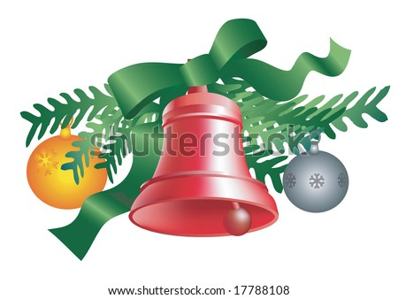 Christmas decoration with red bell and Christmas balls. Vector illustration, isolated on white background.