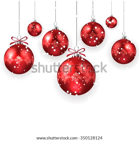 Decorated Christmas Balls Simple Christmas Decoration Red Christmas Balls Isolated Stock Vector Design Ideas