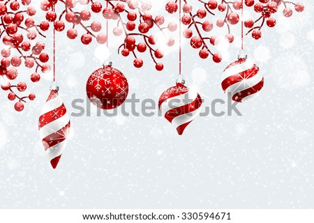 Christmas decoration with snow and bokeh effect. Vector illustration - stock vector