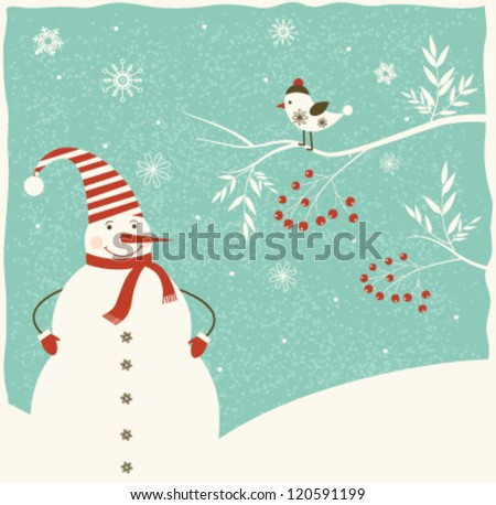 Christmas decoration with snowman  and bird on blue background. Vector - stock vector