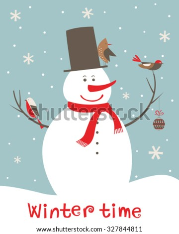 Christmas decoration with snowman and birds. Vector - stock vector