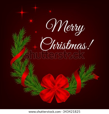 Christmas decoration with sparkling stars on dark background. Christmas background with detailed realistic fir branches, red bow, ribbons and stars. Merry Christmas! - stock vector