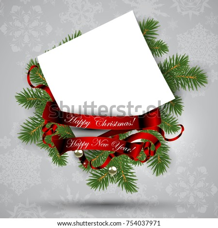 Christmas decoration with spruce branches, red ribbon and card for your greetings.  Highly realistic illustration.