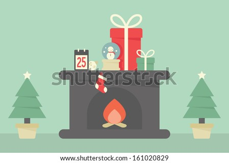Christmas decoration with tree, fireplace and gifts - stock vector