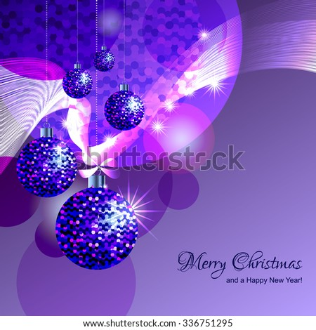 Christmas decorations and snowflakes on abstract shiny winter background. - stock vector