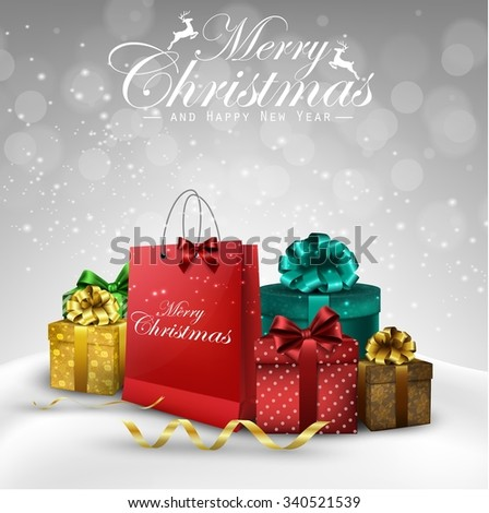 Christmas decorations bag and gift boxes background.Vector - stock vector