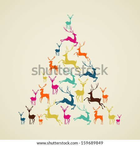 Christmas decorations elements reindeer holiday pine tree shape illustration. Vector file organized in layers for easy editing. - stock vector