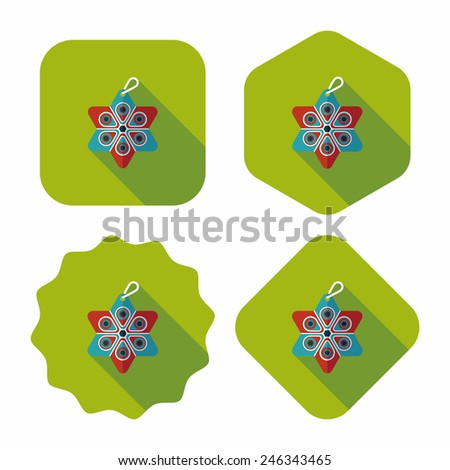 Christmas decorations flat icon with long shadow eps10 - stock vector
