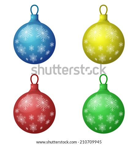 Christmas decorations icon set - color balls, 3d illustration, isolated on white background, vector, eps10 - stock vector