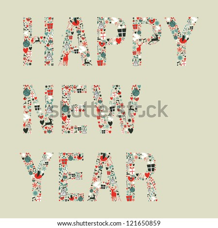 Christmas decorations icons in 2013 happy new year greeting card. Vector illustration layered for easy manipulation and custom coloring. - stock vector