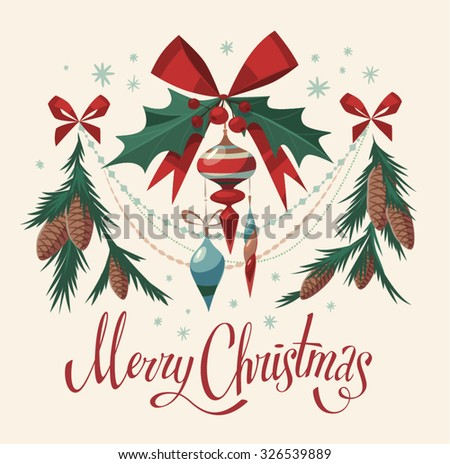 Christmas decorations isolated elements. Vector image. - stock vector