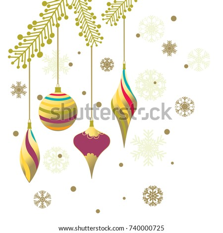 Christmas decorations. New Year. Celebration. Vector. Beautiful illustration. Ball. Icicle. Snowflake. Toys. Gold. Color. Background. Fir branch.