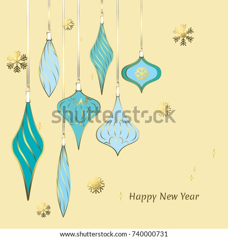 Christmas decorations. New Year. Celebration. Vector. Beautiful illustration. Ball. Icicle. Snowflake. Toys. Gold. Blue. Background.
