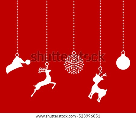 Christmas decorations of paper tape. Silhouette  decor element
