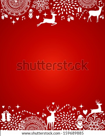 Christmas decorations ornaments elements template red postcard background. Vector file organized in layers for easy editing. - stock vector