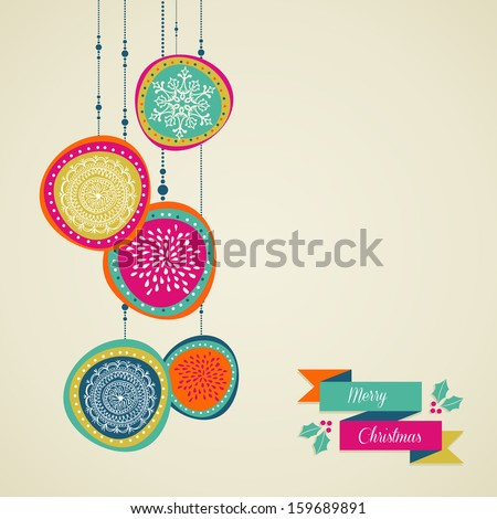 Christmas decorations ornaments on circle bauble shape postcard background. Vector file organized in layers for easy editing. - stock vector