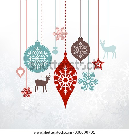 Christmas decorations, ornaments. Silver frosty background - frozen snowlfakes. Can be used as a greetings card. - stock vector
