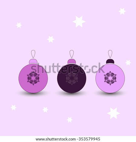 Christmas decorations pink - stock vector