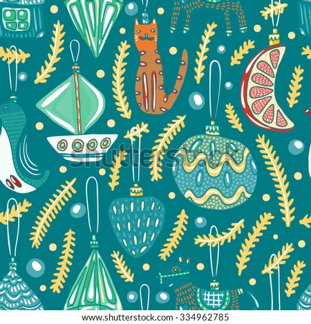 Christmas decorations seamless pattern. Bright colors for catchy holiday designs. Lovely doodles decorate your nice project.