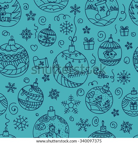 Christmas decorations seamless pattern. Merry Christmas and Happy New year! - stock vector