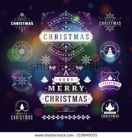 Christmas Decorations Vector Design Elements. Typographic elements, Symbols, Icons, Vintage Labels, Badges, Ornaments and Ribbon, set. Flourishes calligraphic. Merry Christmas Happy Holidays wishes. - stock vector