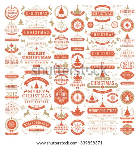 Christmas decorations vector design elements. Typographic messages, vintage labels, frames ribbons, badges logos, ornaments set. Flourishes calligraphic. Big Collection. - stock vector
