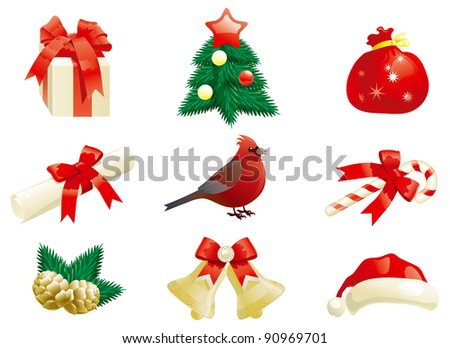 Christmas decorations. Vector set of some vector christmas decorations for holiday's icons - stock vector