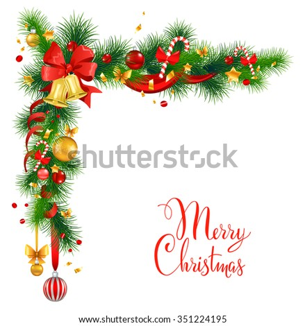 Christmas decorations with bells. Holiday background  for design card, banner,ticket, leaflet and so on. - stock vector