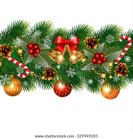 Christmas decorations with fir tree and decorative elements. vector illustration - stock vector