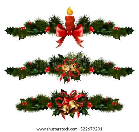 Christmas decorations with fir tree golden jingle bells and Christmas decorative elements. Christmas vector illustration
