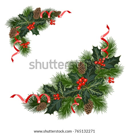 Christmas decorations fir tree holly berries stock vector for Fir cone christmas tree decorations