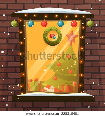 Christmas Decorations. Xmas Balls, Tree, Lights and Wreath. Window and Brick Wall. Snowflakes. - stock vector