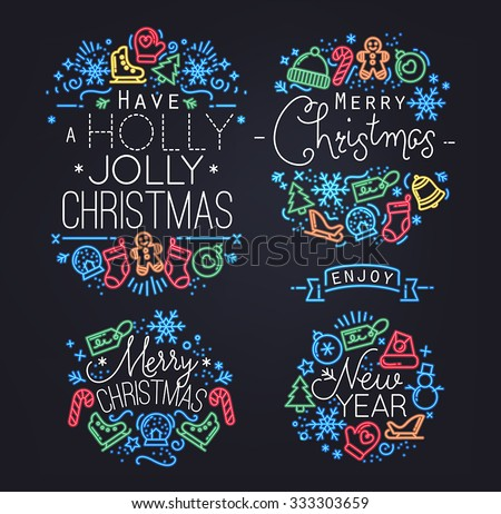 Christmas decorative elements for winter holidays in flat and neon style,drawing by color lines on black background - stock vector