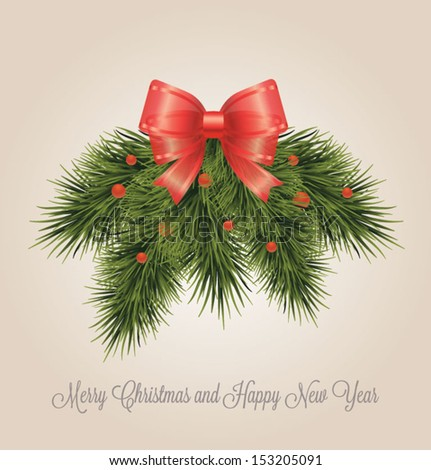 Christmas decorative wreath. Christmas and New year card.Vector illustration